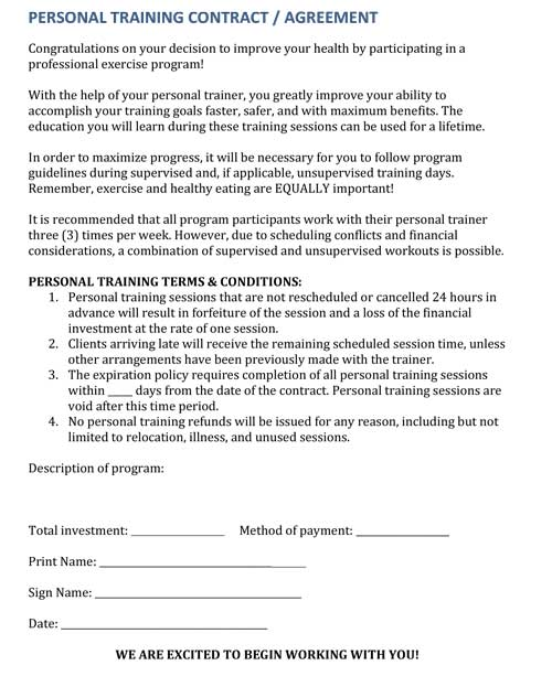 Training Contract Template Printable Medicalhistory Forms In Word