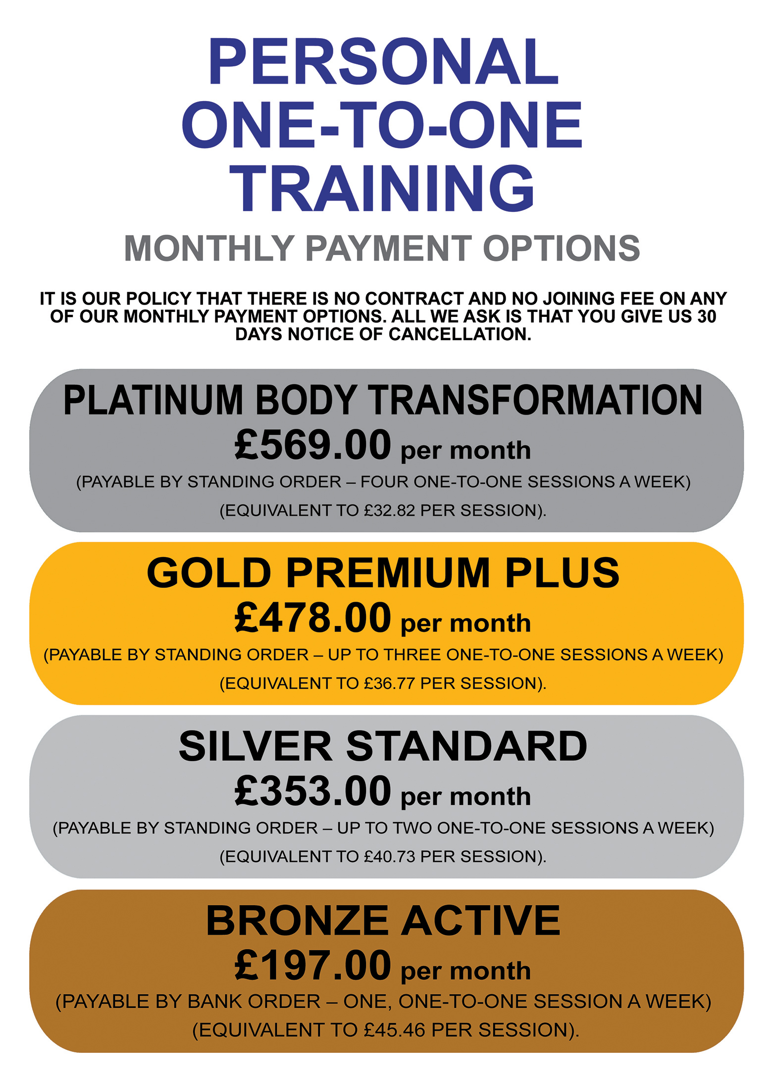 Online Personal Training Prices